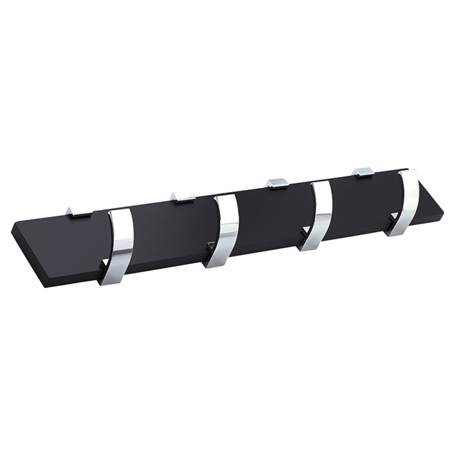 Rack - 4-Hook - Wall-Mounted Rack - Black