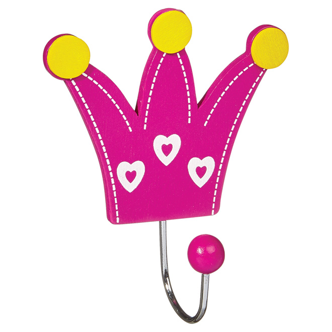 Crochet simple en couronne, métal, rose