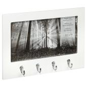 Quadruple Frame Hook - Wood and Chrome - White