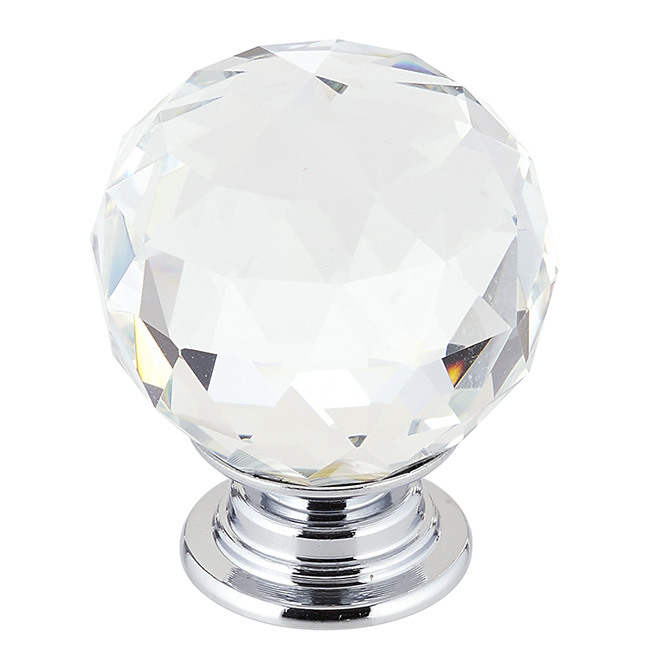 Contemporary Clear Crystal Knob - 30 mm - Chrome