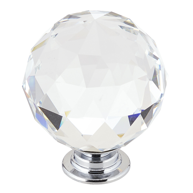 Contemporary Clear Crystal Knob - 40 mm - Chrome