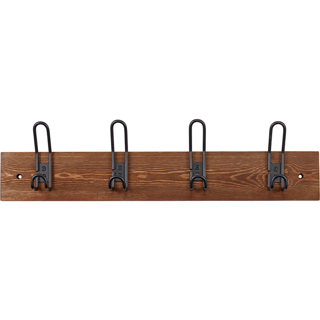 "Hooks on Board - 24"" - Wood and Metal"
