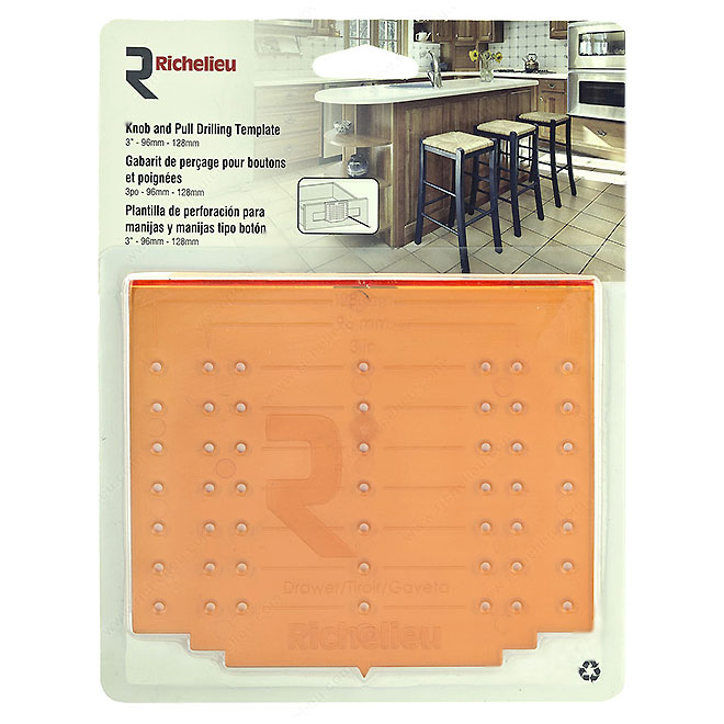 """Knob and Pull Drilling Template - 3"""""""