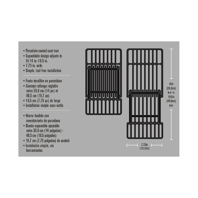 Char-Broil BBQ -  Universal Cast Iron Grid - 14'' to 19.5''