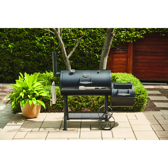 Charcoal Offset Smoker - 900 sq. in. - Steel - Black