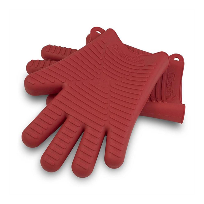Comfort-Molded Silicone Grilling Gloves - Red