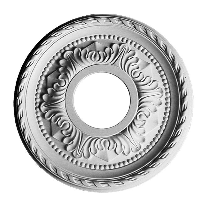 Médaillon de plafond Uberhaus, 12 1/8 po de diamètre, polyuréthane, blanc