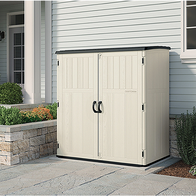 Craftsman Garden Shed - Vertical - 4' x 6' - White and Grey