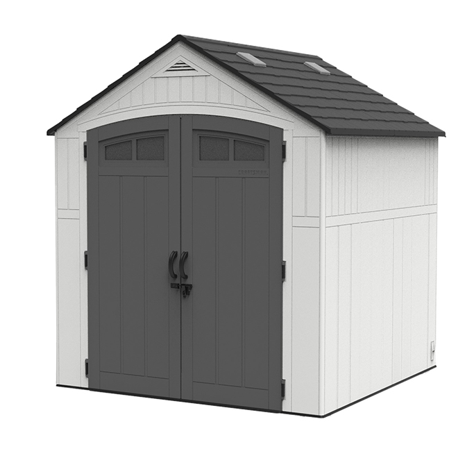 Craftsman Garden Shed - 7' x 7' - White and Grey