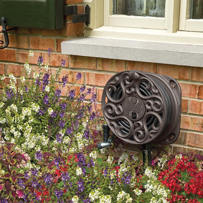 Suncast Wall Hose Reel - 60' - Resin - Bronze