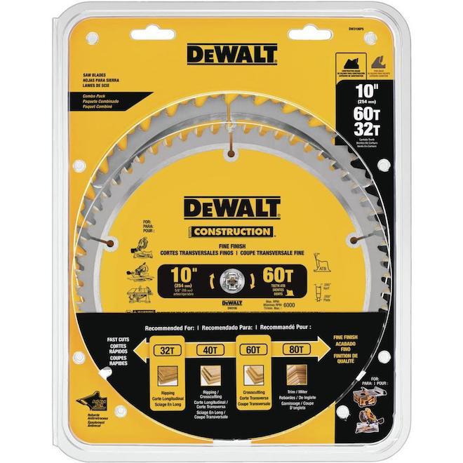 """Dewalt Circular Saw Blades - 10"""" - 2/Pack"""