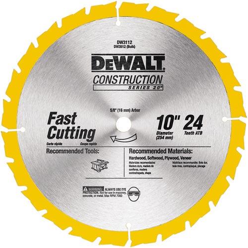 """Carbide Circular Saw Blade - Construction - 24 TH - 10"""""""