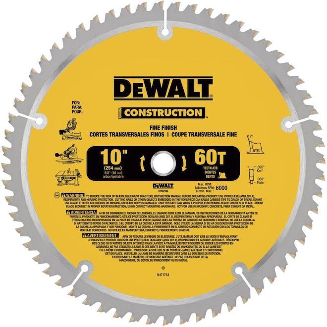 """Carbide Circular Saw Blade - Construction - 60 TH - 10"""""""