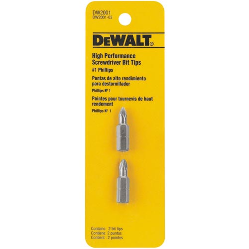 "Phillips Screwdriver Bits - #1 - 1"" - 2 Pack"