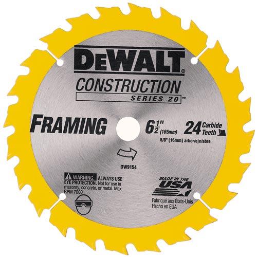 Carbide Circular Saw Blade - Construction - 24 TH - 6 1/2
