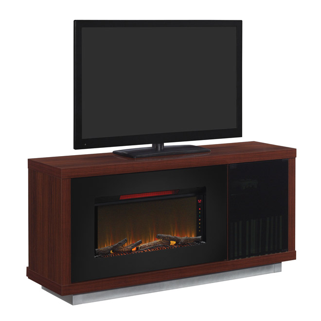 Media Mantel With Electric 36 Fireplace Cherry Wood Rona