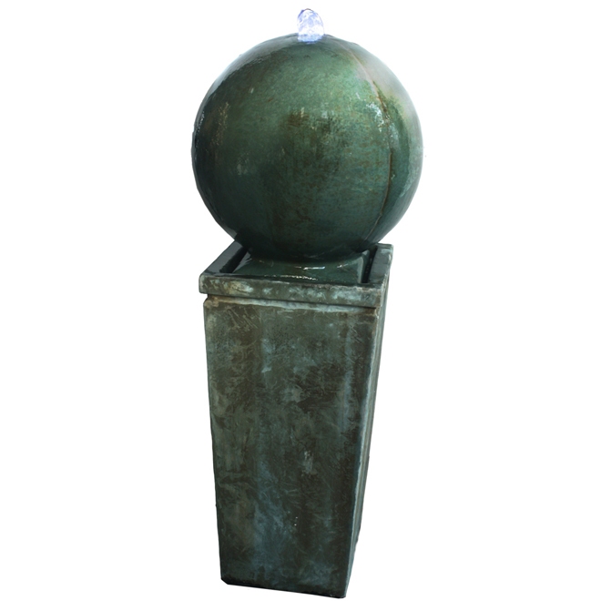 """Fontaine globe avec pompe, DEL, 34"""", gris"""