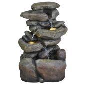 """Fontaine de roches, fibre de verre, DEL, 20"""", couleur pierre"""
