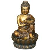 Angelo Decor Garden Buddah Fountain - LED Light - 16-in - Golden