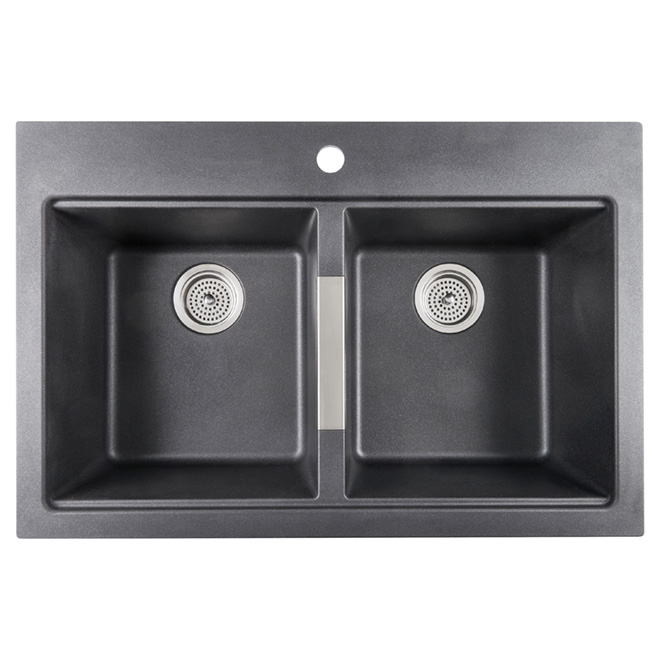 Odyssey Double Kitchen Sink Composite Granite Black