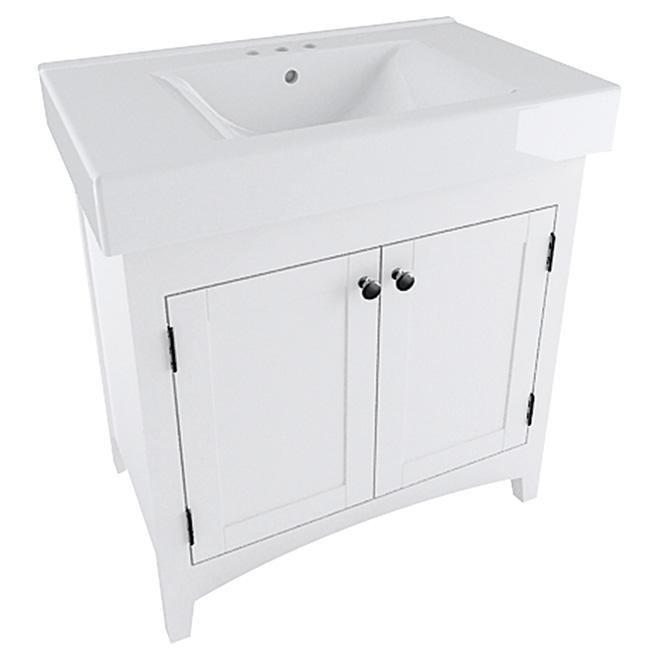meuble lavabo portes r versibles blanc 29 rona. Black Bedroom Furniture Sets. Home Design Ideas