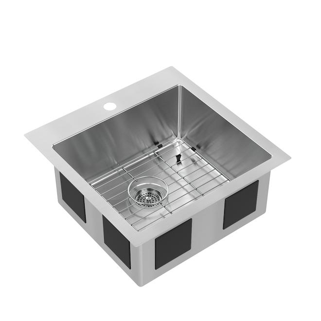 Artika Single Kitchen Sink - 20.5-in x 20.5-in x 9-in - Stainless Steel