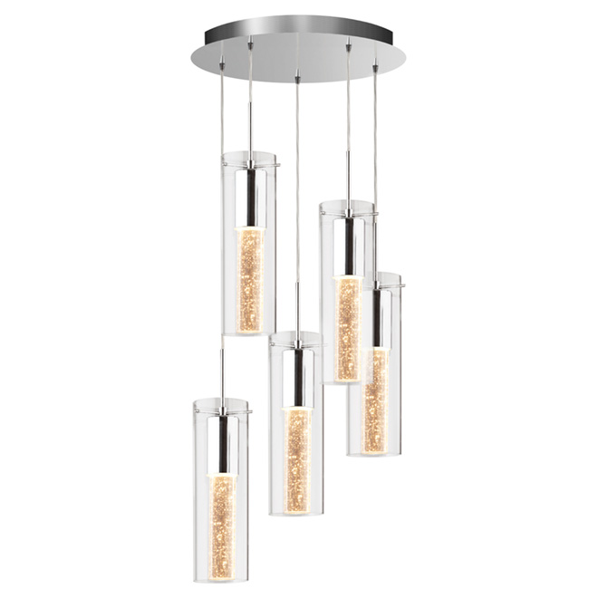 VOLTZ Bubble Flow 5-Light Pendant - Chrome/Crystal