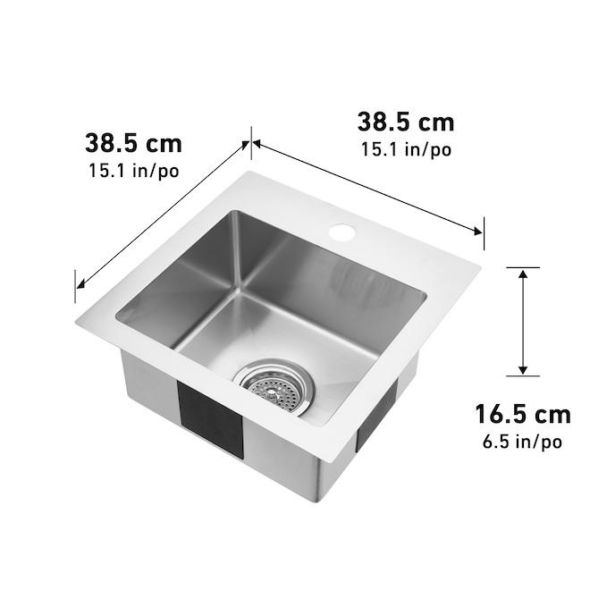 Artika Plaza Bar Sink - Stainless Steel - 15.1-in x 15.1-in x 6.5-in
