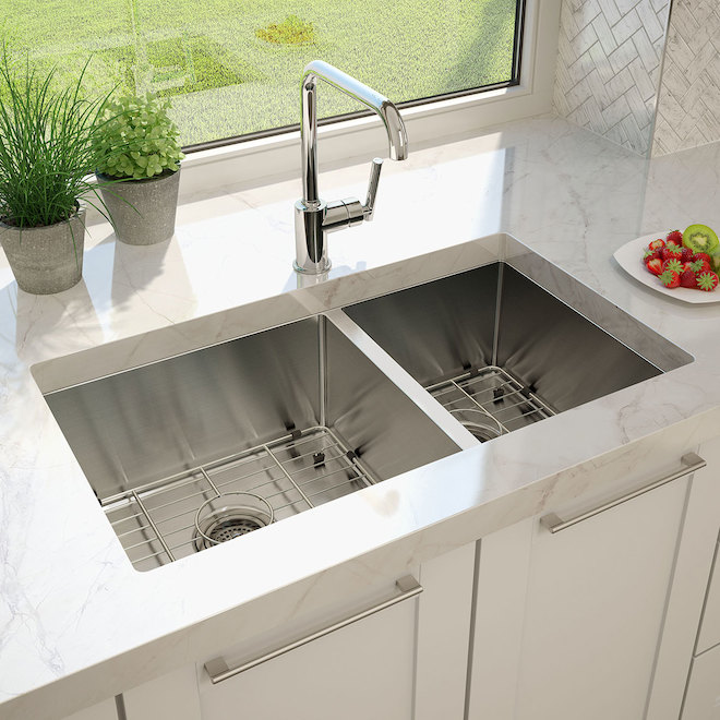 Artika Laguna Bay Double Kitchen Sink - Stainless Steel - 31.25-in x 20.5-in x 9-in - 20 Gauge - Drop-In/Undermount