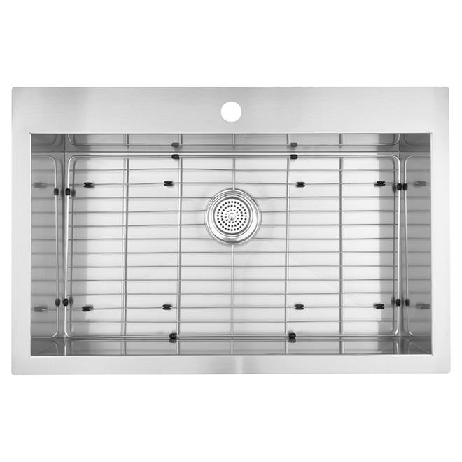 "Stainless Steel Single Kitchen Sink - 31.25"" x 20"""