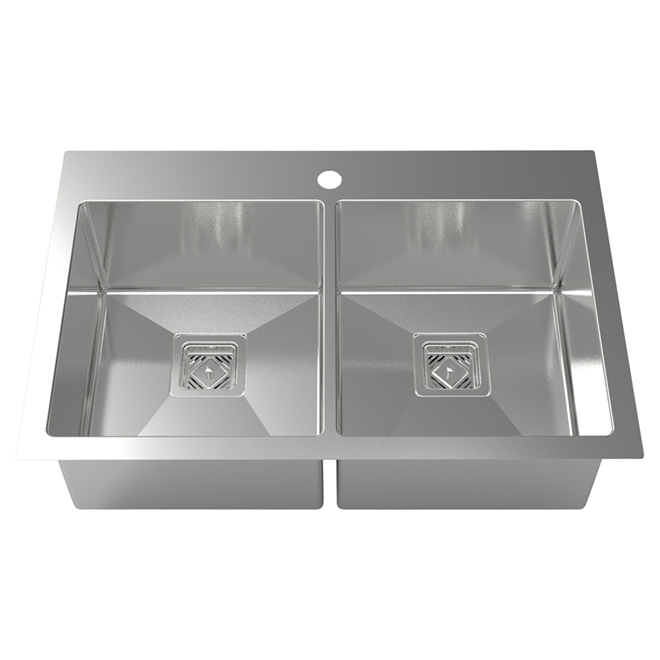 Square Kitchen Sink - 30.5'' x 19.68'' - Stainless Steel
