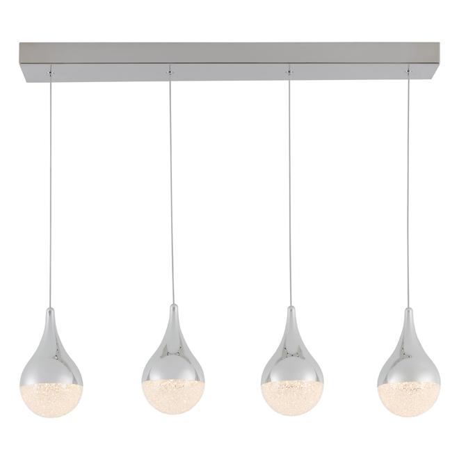Luminaire suspendu «Glitzer» réglable à 4 lumières, DEL 10 W