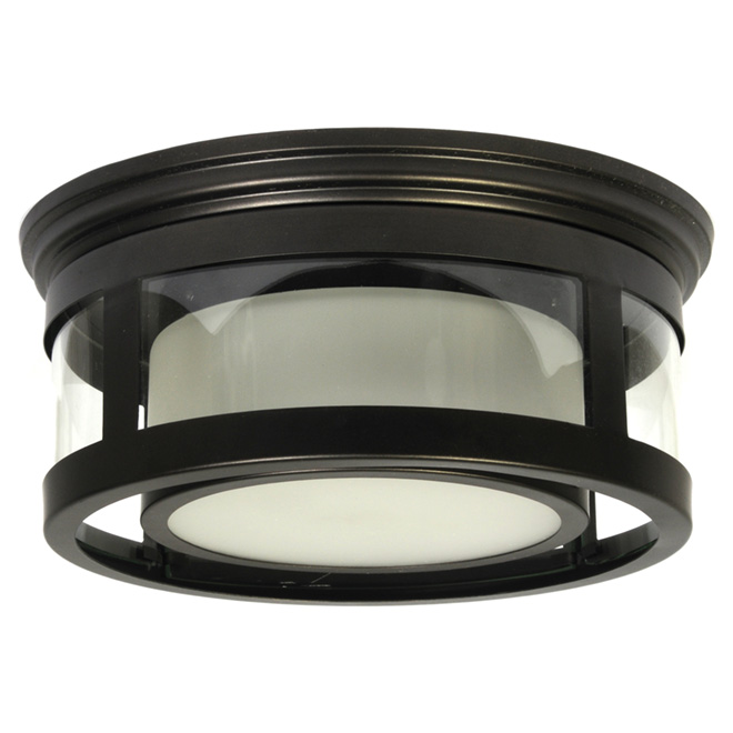 1 light outdoor flush mount light black