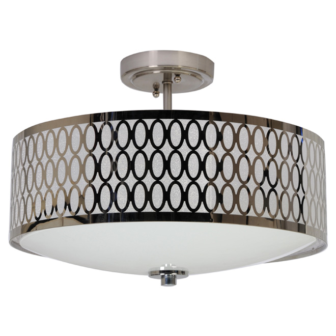 2 light semi flush ceiling light chrome