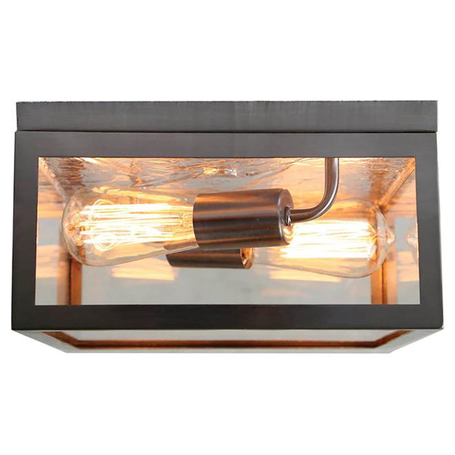 Flush-Mount Light - 2 Lights - Square - Satin Nickel