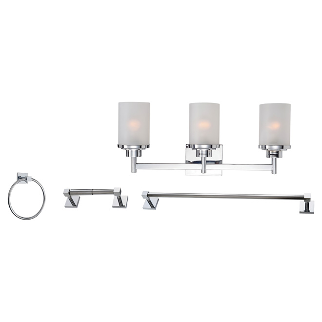 3-Light Vanity Light and Bathroom Accessories Set - Chrome