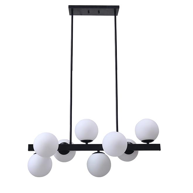 """Suspension à 7 lumières, 32"""" x 14,5"""", métal/verre, noir mat"""