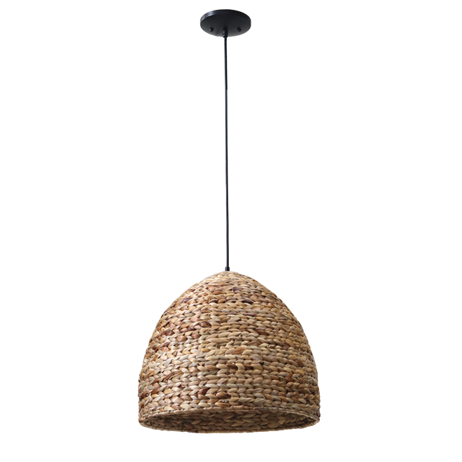 "Dome 1-Light Pendant Light - 18"" x 16"" - Metal/Bamboo"