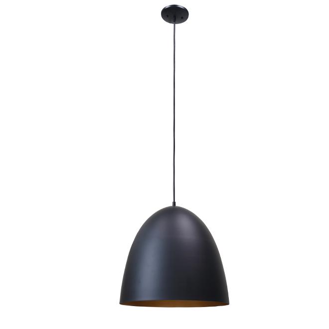 """Dome Pendant Light - 1 Light - 15.75"""" x 16"""" -  Metal - Black"""