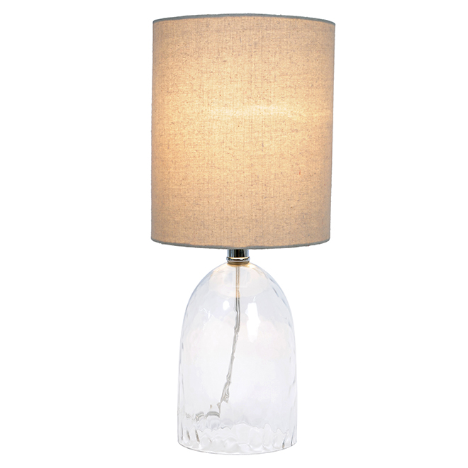 """Project Source Table Lamp - 8"""" x 18.25"""" - Clear and Linen Finish"""