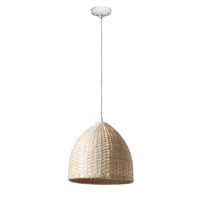 "Dome Pendant Light - 1 Light - 12"" - Metal/Bamboo - White/Natural"