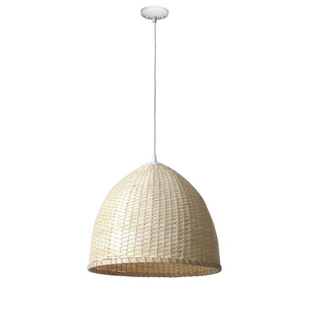 Dome Pendant - 1 Light - Metal/Bamboo