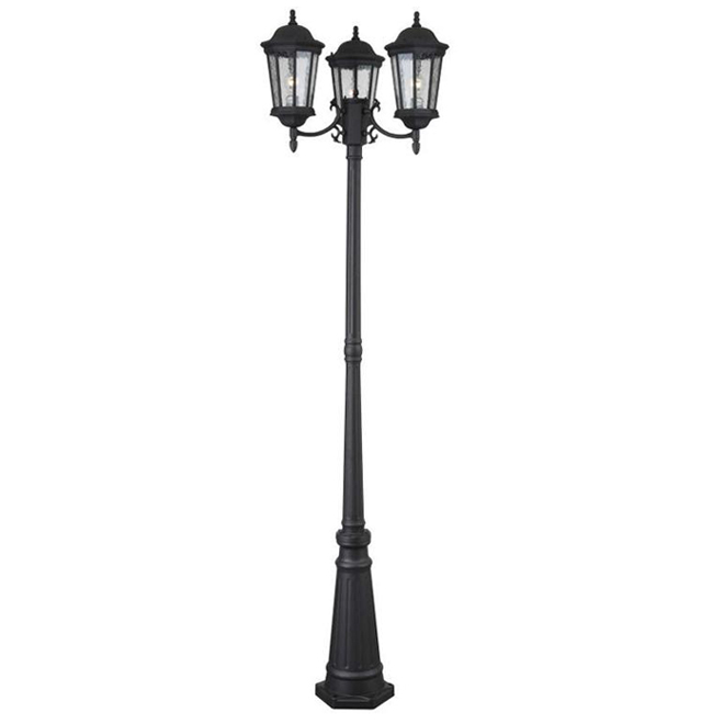 Project Source 3-Light Outdoor Post Light - 27-in x 86-in - Aluminum and Glass - Black