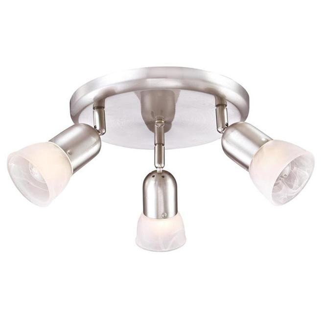 Plafonnier à 3 lumières Project Source, métal et verre d'albâtre, nickel satiné
