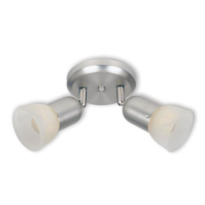 Project Source 2-Light Ceiling Light - Metal and Alabaster Glass - Satin Nickel