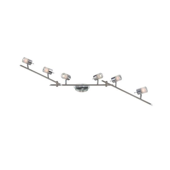 Rail d'éclairage à 6 lumières Project Source, métal et verre dépoli, nickel satiné