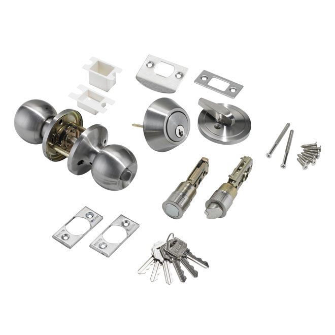 Facto Quot Bola Quot Entrance Door Knob And Deadbolt Combo 607 Sn