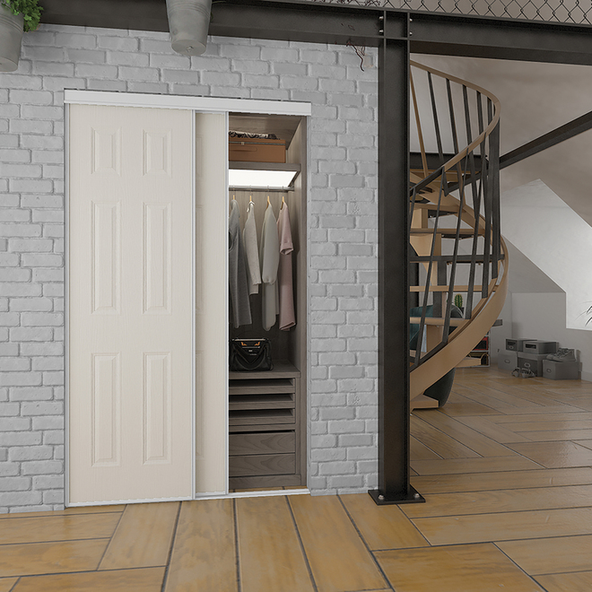 Porte coulissante Bostonian de Colonial Elegance, 36 po x 80 1/2 po, blanc