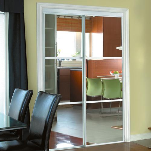 "Colonial Elegance - Trio Sliding Mirror Door - 3 Panels - 48"" x 80.5"" - White"