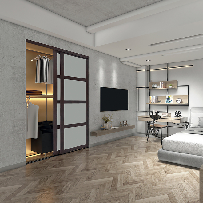 Colonial Elegance - Fusion Plus Sliding Door - 48-in x 80.5-in - Wood/Glass - Chocolate